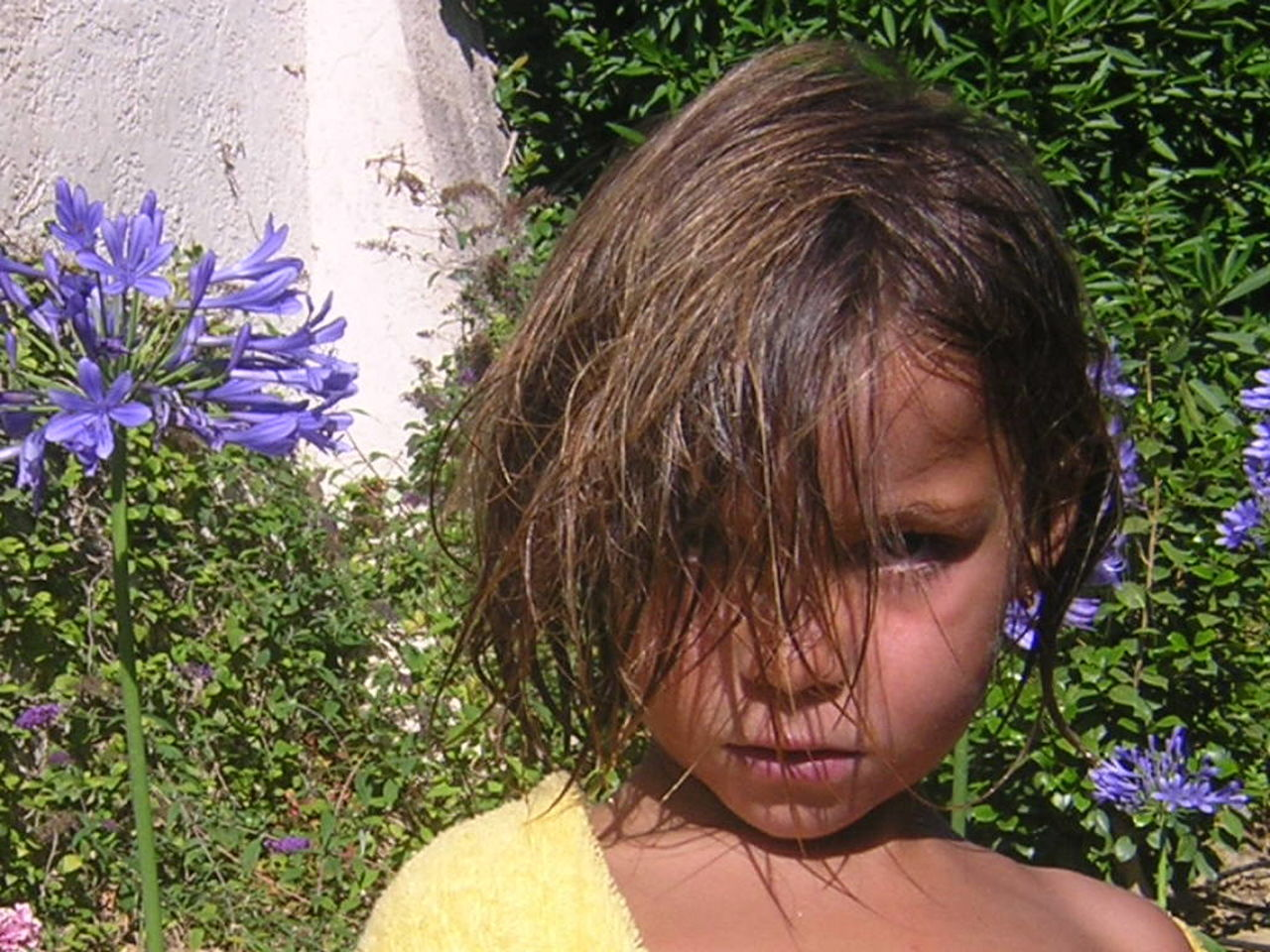flower, childhood, one person, outdoors, headshot, real people, day, grass, close-up, children only, nature, people