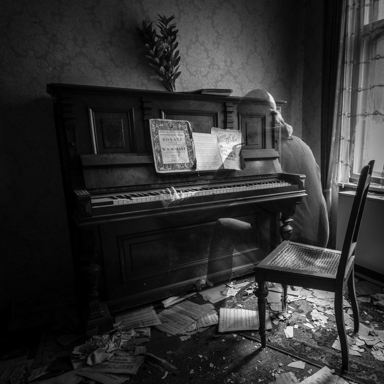 Abandoned Alone Black & White Black And White Blackandwhite Ghost Grief Instrument Instruments Klavier Long Exposure Long Exposure Shot Lost Places Music Music Instrument Noir Peaceful Person Piano Piano Moments Piano Player