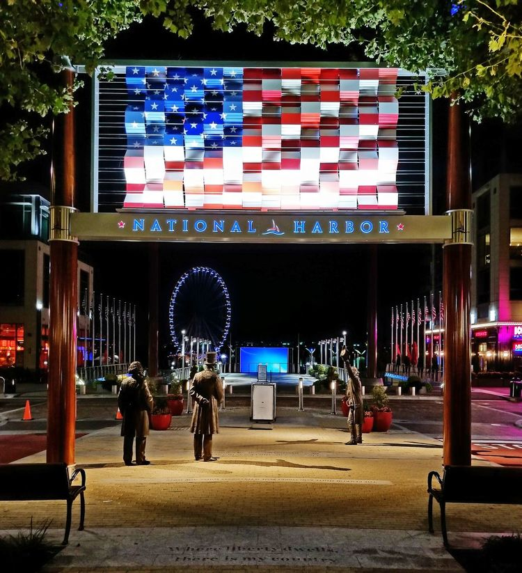 Flag Patriotism Outdoors Night Architecture National Harbor Maryland Your Ticket To Europe The Week On EyeEm Mix Yourself A Good Time