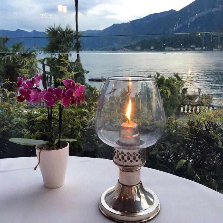 Cena. Evening with candles Lake Lago Cena Water Romantic романтика ужин свеча Candle Flowers озеро Италия Italy Italia Italy❤️
