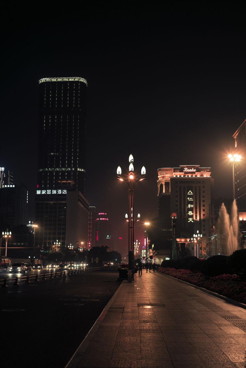 Chengdu Night 2016 Nov 14 Architecture Building Exterior Chengdu China City City Life Cityscape Lonely Night Lights Night View Nightphotography Outdoors Skyscraper Street