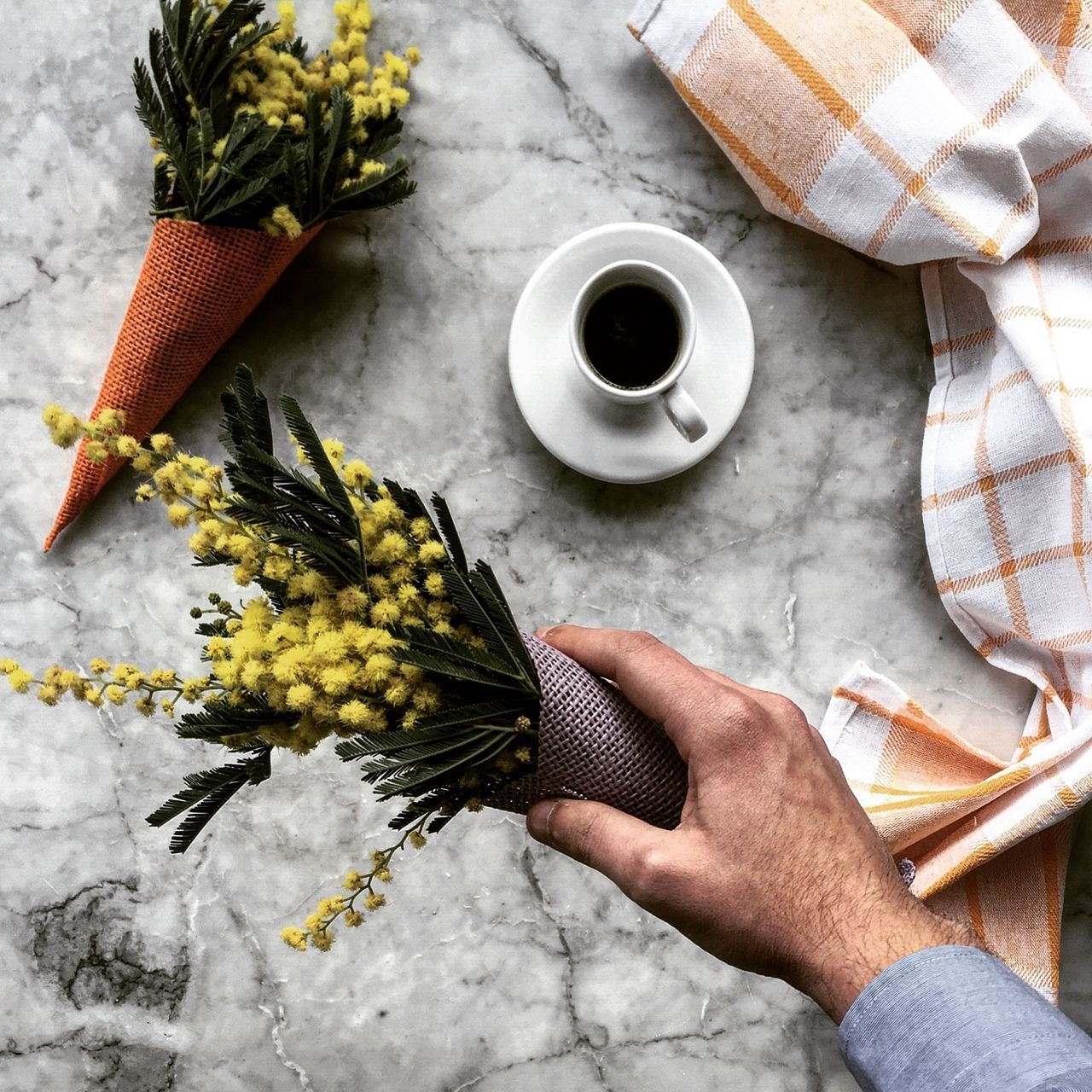 Abundance Arrangement Breakfast Choice Close-up Coffe Composition Cropped Detail Flowers Focus On Foreground Food Holding Human Body Part Human Hand Midsection One Person Organic Selective Focus Showcase March Showing Studio Shot Unrecognizable Person Variation Woman
