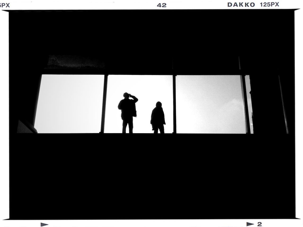 Low angle view of two silhouette people against window