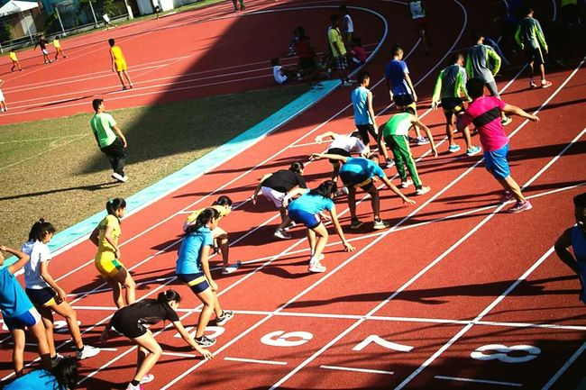 Running Track Sports Race Sports Track Stadium High Angle View Track And Field Sport Activity Competitive Sport Sunlight Sprinting Motion Speed Outdoors Competition Starting Line Track And Field Athlete Horizontal People Beginnings Capturing Motion Eyeem Philippines EyeEm Colors Journey