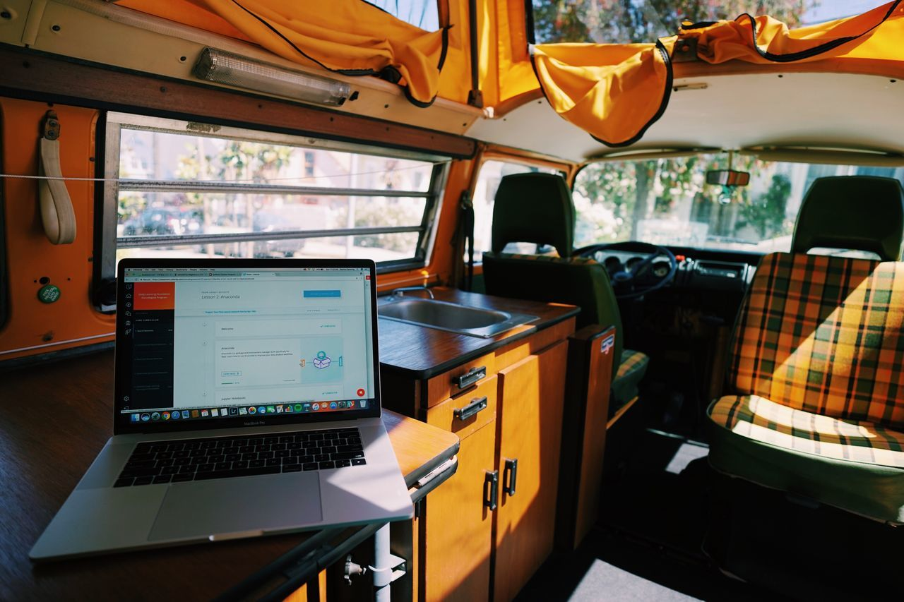 WFVWBUS // VW Bus Vehicle Interior Transportation Control Mode Of Transport Window Technology Vehicle Seat No People Day Control Panel Indoors  Close-up Sky