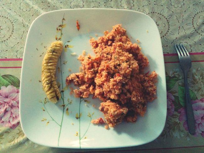 Food Food Porn Red Egg Fried Rice Salt And Pepper Grilled Banana