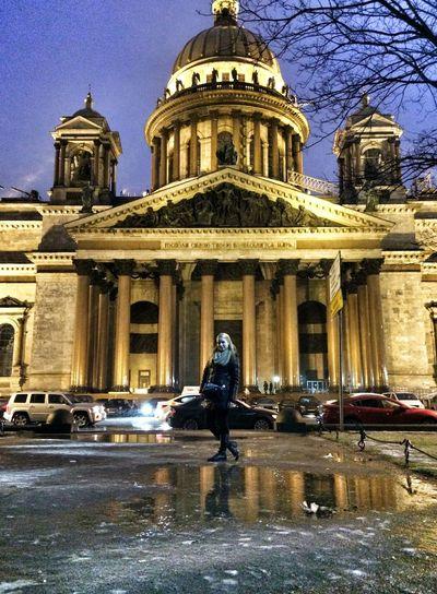 Санкт-Петербург Исаакиевский собор Питер Россия зима Дождь Russia