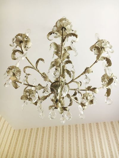 Low Angle View Chandelier Home Interior No People