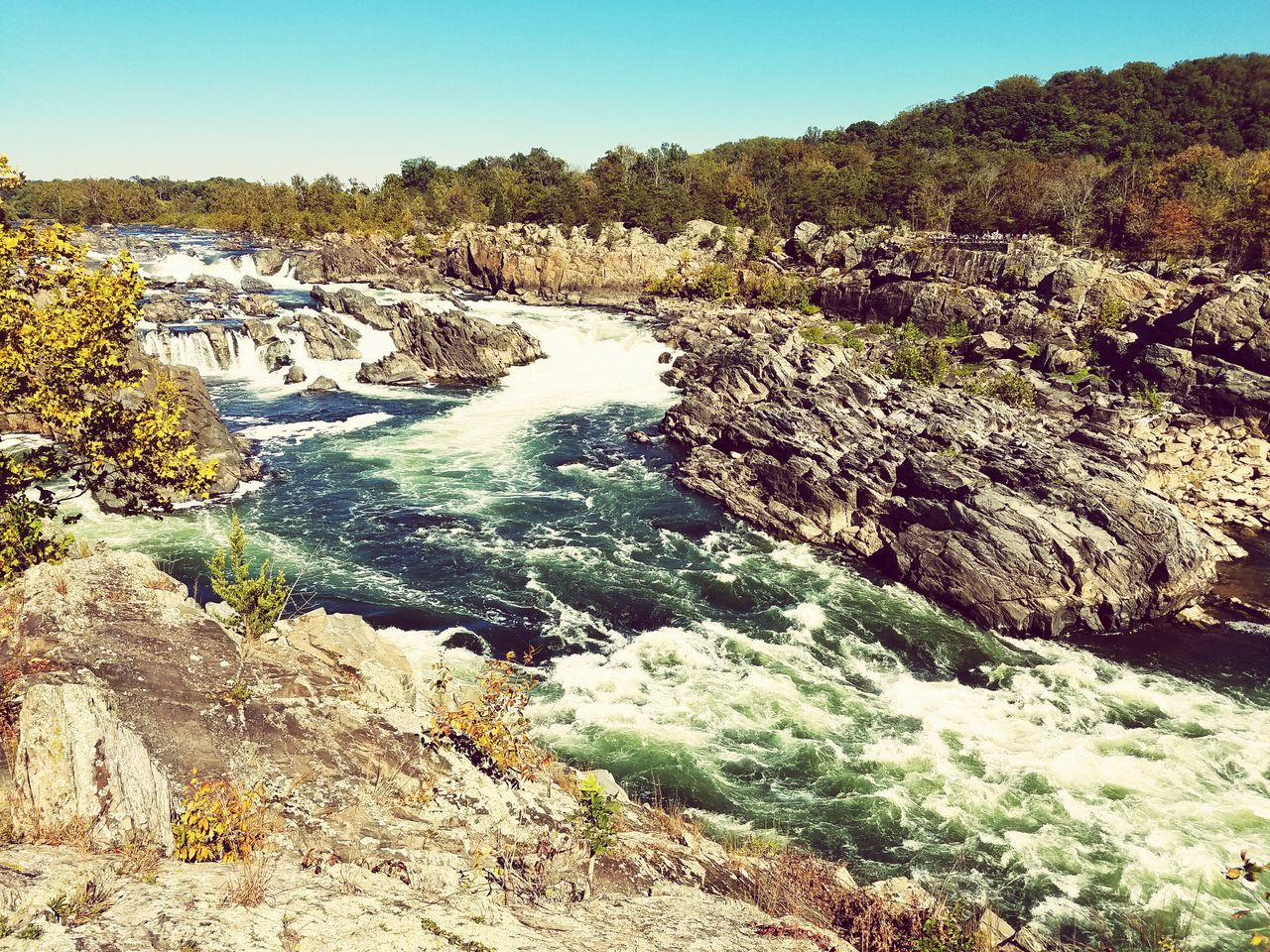 Great Falls Waterfall Beauty In Nature Water Water Motion Scenics Beauty In Nature Clear Sky Flowing Water Flowing Waterfall Tranquil Scene Nature Rock - Object River Non-urban Scene Travel Travel Destinations Tourism Idyllic Rock Formation Day Environment First Eyeem Photo