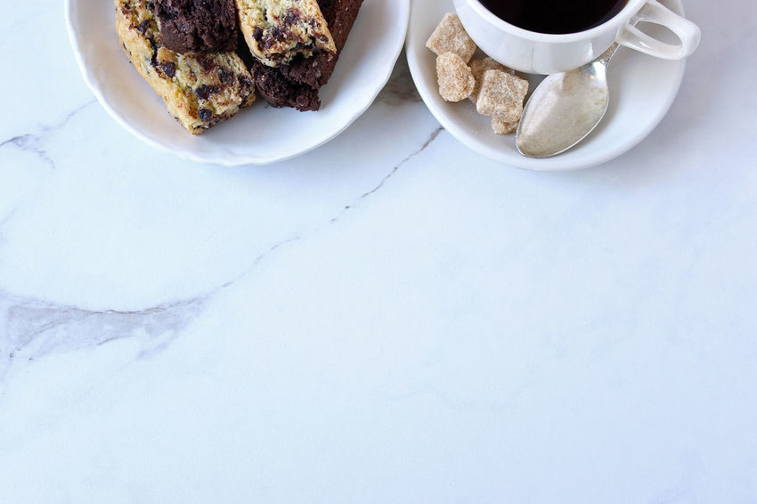 Coffee break Beverage Biscotti Breakfast Chocolate Chocolate Chip Close Up Coffee Coffee Break Coffee Shop Coffee Time Food And Drink Home Made Hot Drink Italian Cookies Kitchen Table Marble Mock Up Morning Coffee Open Space Spoon Styled Sugar Cubes Sweets Vintage Dishes White