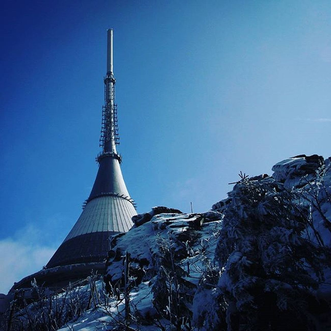 Czechrepublic Liberec Jested Tower Snow Ice Bluesky Winter