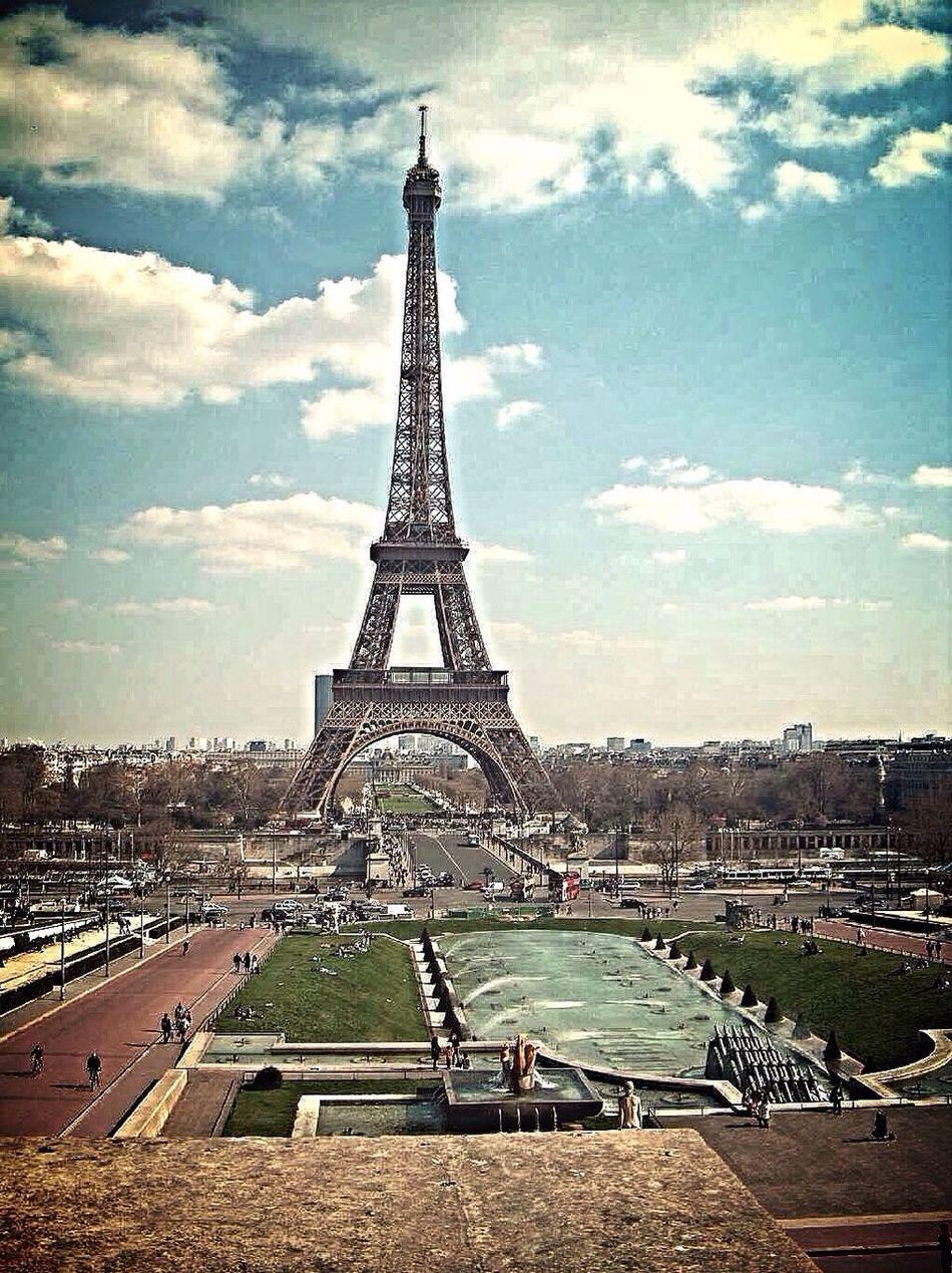 Panoramic view of Champ de Mars and Tour Eiffel, Paris