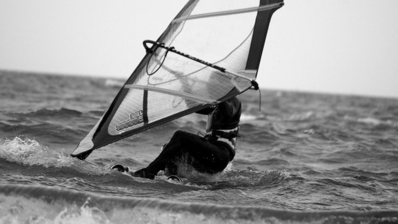 """4/13 ..watching you rebel   says again and again """"give it up"""".. Black And White Blackandwhite Clear Sky Confidence  Damaged Focus On Foreground Horizon Over Water Leisure Activity Men Monochrome Motion Sea Seaside Visual Thoughts Water Waves"""