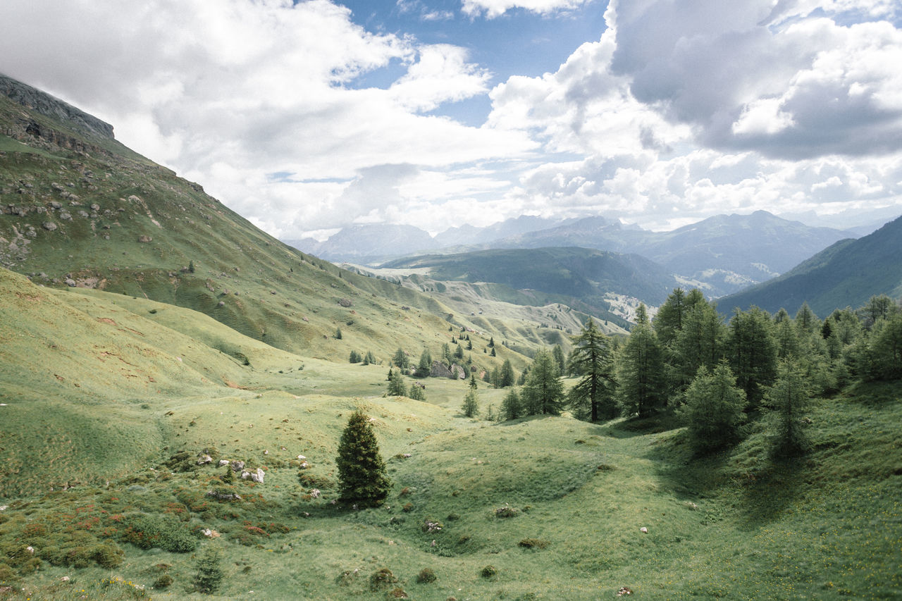 Passo Pordoi Beauty In Nature Cloud - Sky Day Dolomites Green Color Growth Italy Landscape Mountain Mountains Nature No People Outdoors Peaceful View Rolling Hills Scenics Sky Tranquil Tranquil Scene Tranquility Tree Water