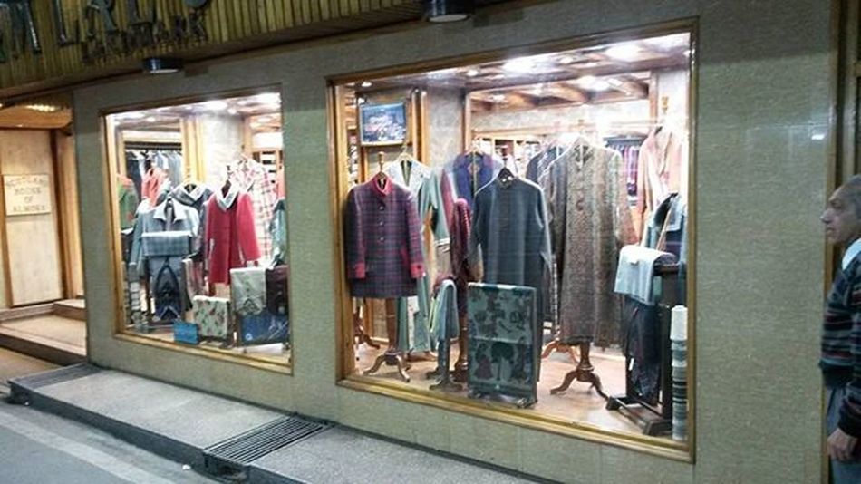 Kashmiri clothes on sell in a store at Nenital on return from my journey to Nenital..