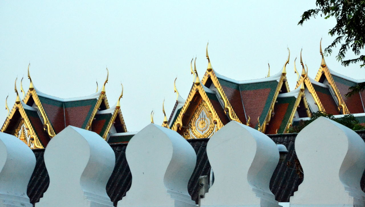 Outside the walls of the Grand Palace Bangkok Thailand Architecture Building Exterior Built Structure Clear Sky Close-up Day Grand Palace Bangkok Thailand Nature No People Outdoors Sky Thailand Travel White Color