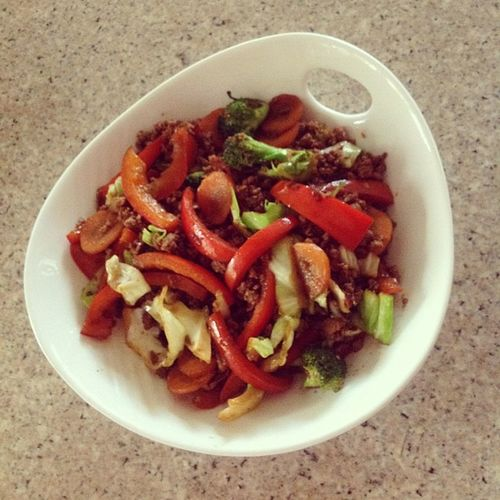 Healthy lunch.. giniling and stir fried veggies :) FirstTime Lunch