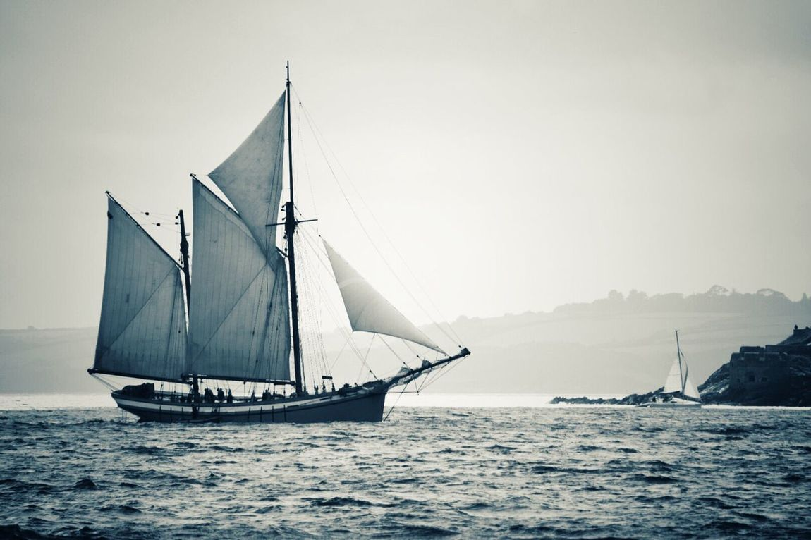 Nautical Vessel Sailboat Sea Mast Sailing Transportation Water Mode Of Transport Outdoors No People Nature Tall Ship Scenics Day Sailing Ship Beauty In Nature Sky Clear Sky Yacht Falmouth Bay Cornwall Uk Wooden Hull The Fal Lost In The Landscape Second Acts