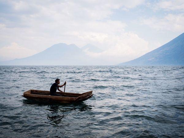Fisherman on Lago Atitlan, Guatemala Lago Atitlán Fisherman Guatemala Travel Photography