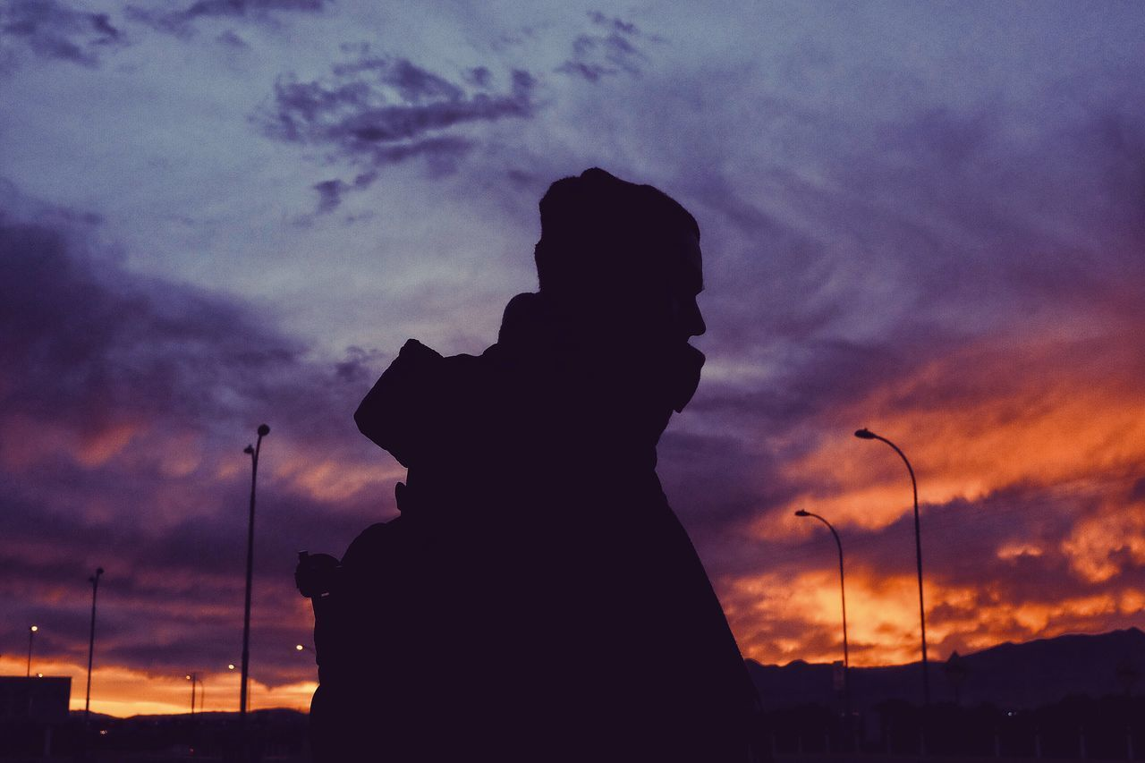 sunset, silhouette, cloud - sky, sky, low angle view, outdoors, statue, nature, no people, beauty in nature, day