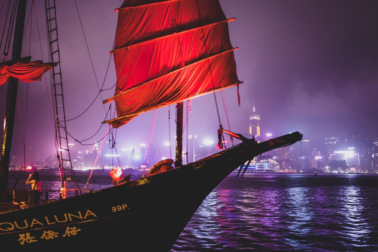 red sail EyeEmNewHere EyeEm Selects Neon Life Discoverhongkong From My Point Of View Nightphotography Nightharbour Shadows & Lights Beautiful Weekend Sailing Cityscape Nightshooters Art Is Everywhere