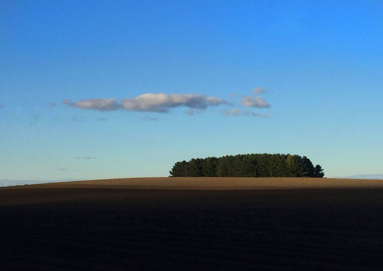 "Maine's answer to Australia's Uluru. Maine's ""monument"" is less rocky with more trees :) Landscape Tranquil Scene Limited Palette Nature Blue Sky Tranquility No People Beauty In Nature Scenics Outdoors Tree Day Agricultural Land Farm Betterlandscapes"