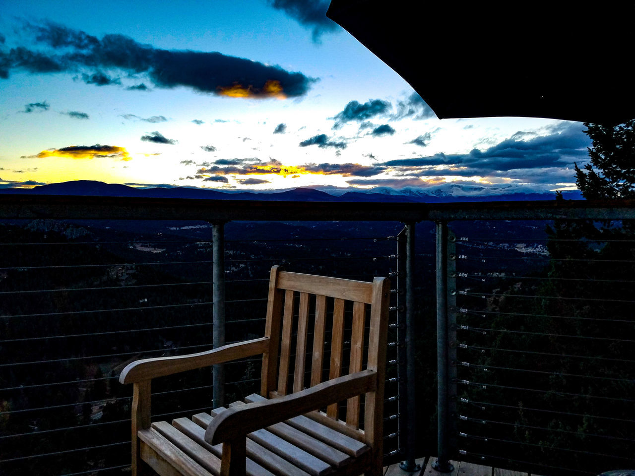 No People Outdoors Sky Nature Shiloutte Landscape Cloud - Sky Mountains Pine Trees Trees Mountains And Sky Sunset Deck View Deck Chair Unbrella Railing Mountain Range Mountain View Pine Woodland Colorado Fall November Evergreen Scenics EyeEmNewHere