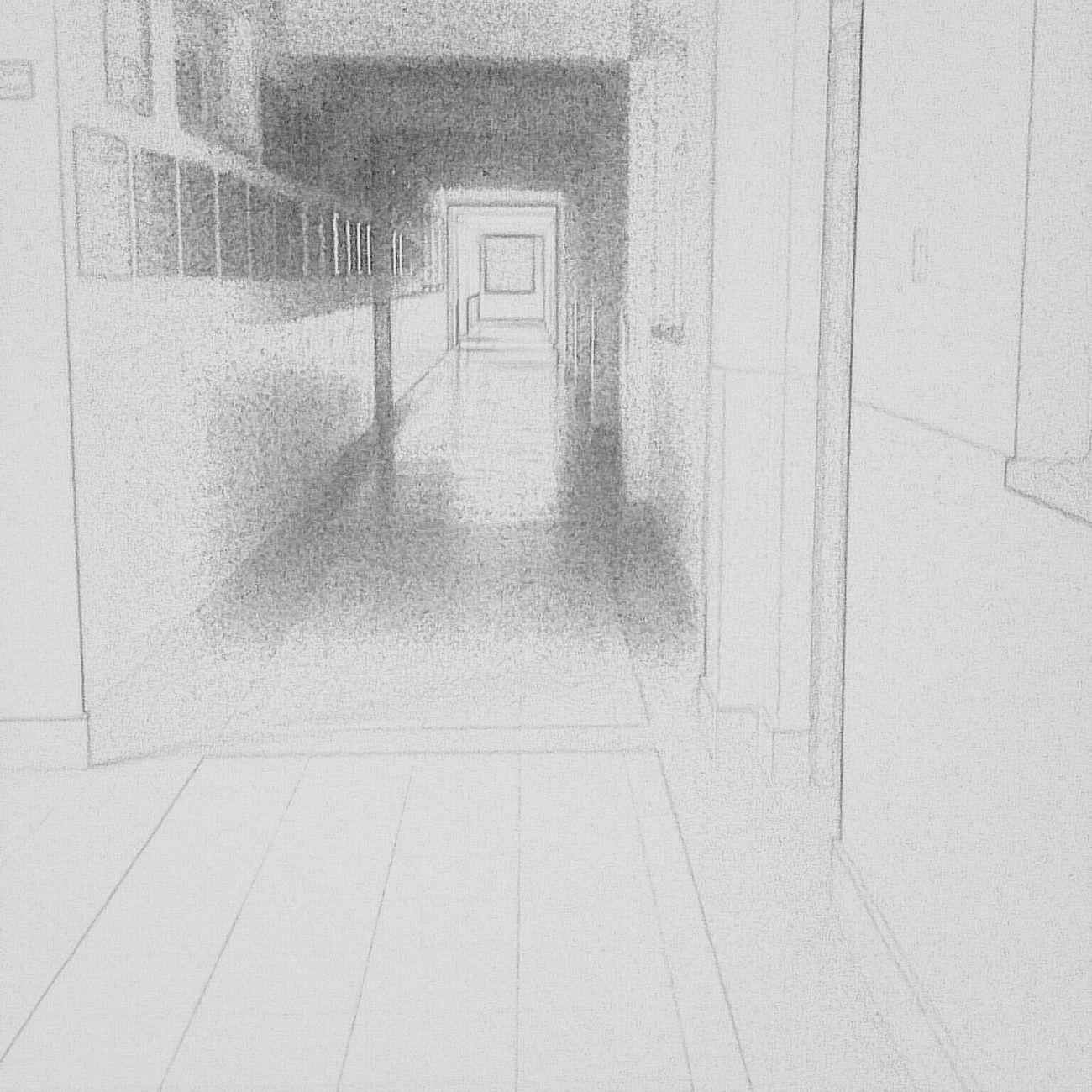 A sketch. Sketch Art My Draw ♥ School Life  Hallway