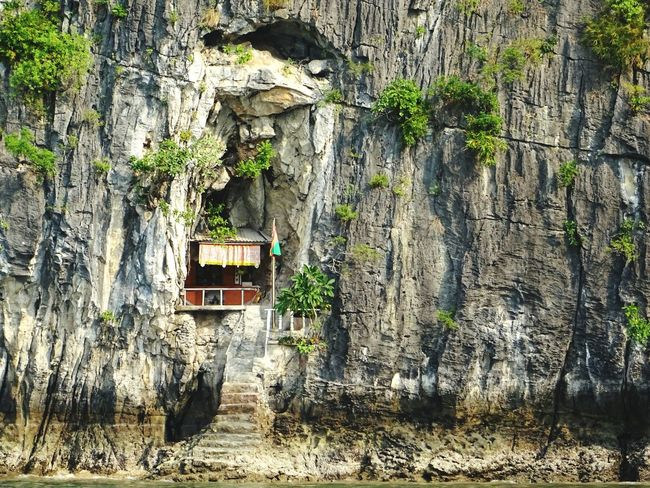 Has to be the most extreme home location I witnessed in Vietnam, in a cliff in Halongbay // House Cliffside Summer Views Extremenature Symbiosis Nature On Your Doorstep Postmanisnotamused Protecting Where We Play