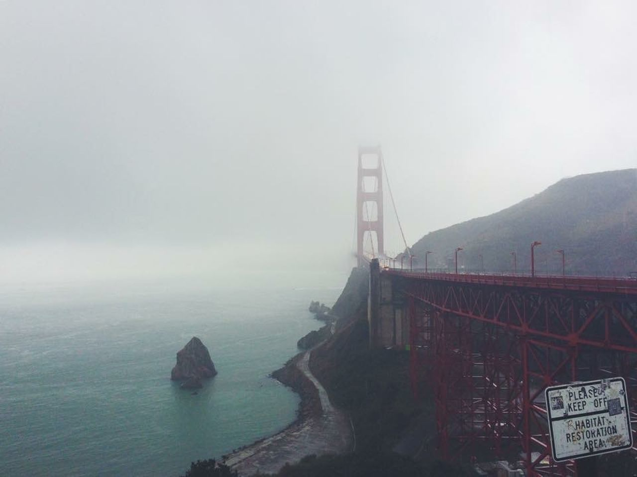 California San Francisco Golden Gate Bridge Fog Landscape