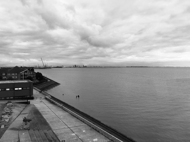 Sky Water Cloud - Sky Built Structure Outdoors Nature Sea Architecture Building Exterior Day No People Harbor Port Humber Estuary Blackandwhite Black And White