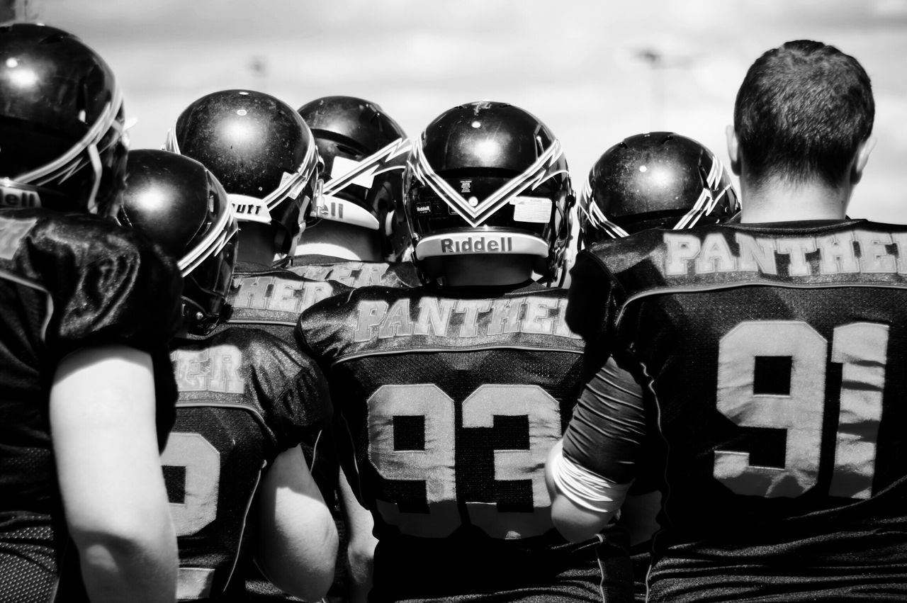 American Football - Sport American Football Uniform Football Helmet Sports Team American Football Player American Football Team Sportsman Blackandwhite Photography American Football Field Panthers
