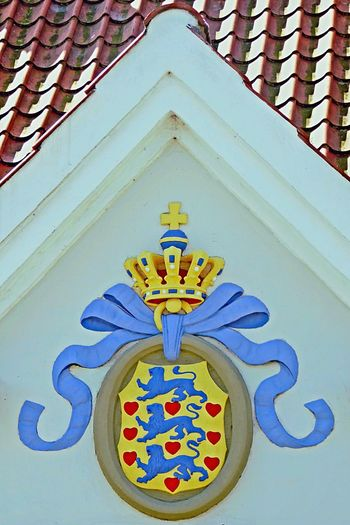 Denmark 🇩🇰🇩🇰🇩🇰 Odense City Rooftop Weapensheld Old Weapensheld Built Structure Architecture No People Day Building Exterior Outdoors Multi Colored Close-up National Mark Danish Summer Danish Culture Danish Art Blue Ribbon