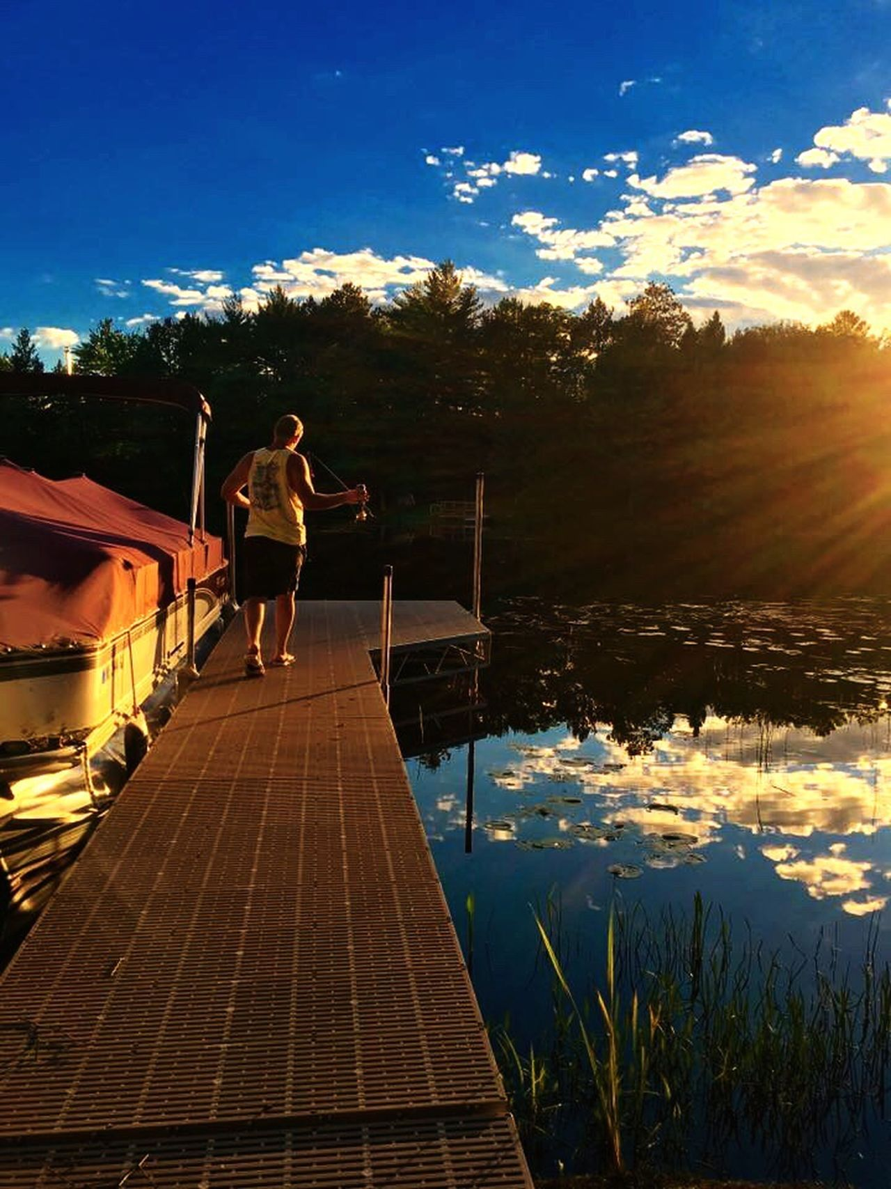 Summer Dock Sunset Fish Fishing Walking Boat Lake River My View