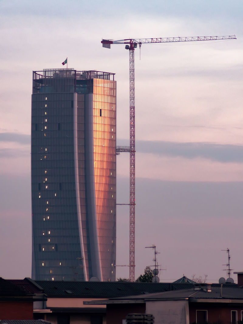 Hadid Tower - Milan Architecture Building Exterior Built Structure City City City Life Cityscape Development Hadid Tower Milan Milano No People Outdoors Roofs Roofs And Towers Sky Skyscraper Sunrise City Buildings Sunset Sunset City Tower Tower Construction Urban Urban Skyline Windows Reflection