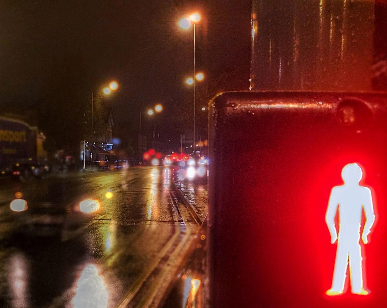 Don't cross in front of the ghost car! Car Night Lights Street Lights Wet Rain Weather Dark Pedestrian Crossing Wait Red Man Don't Cross Headlights Reflections