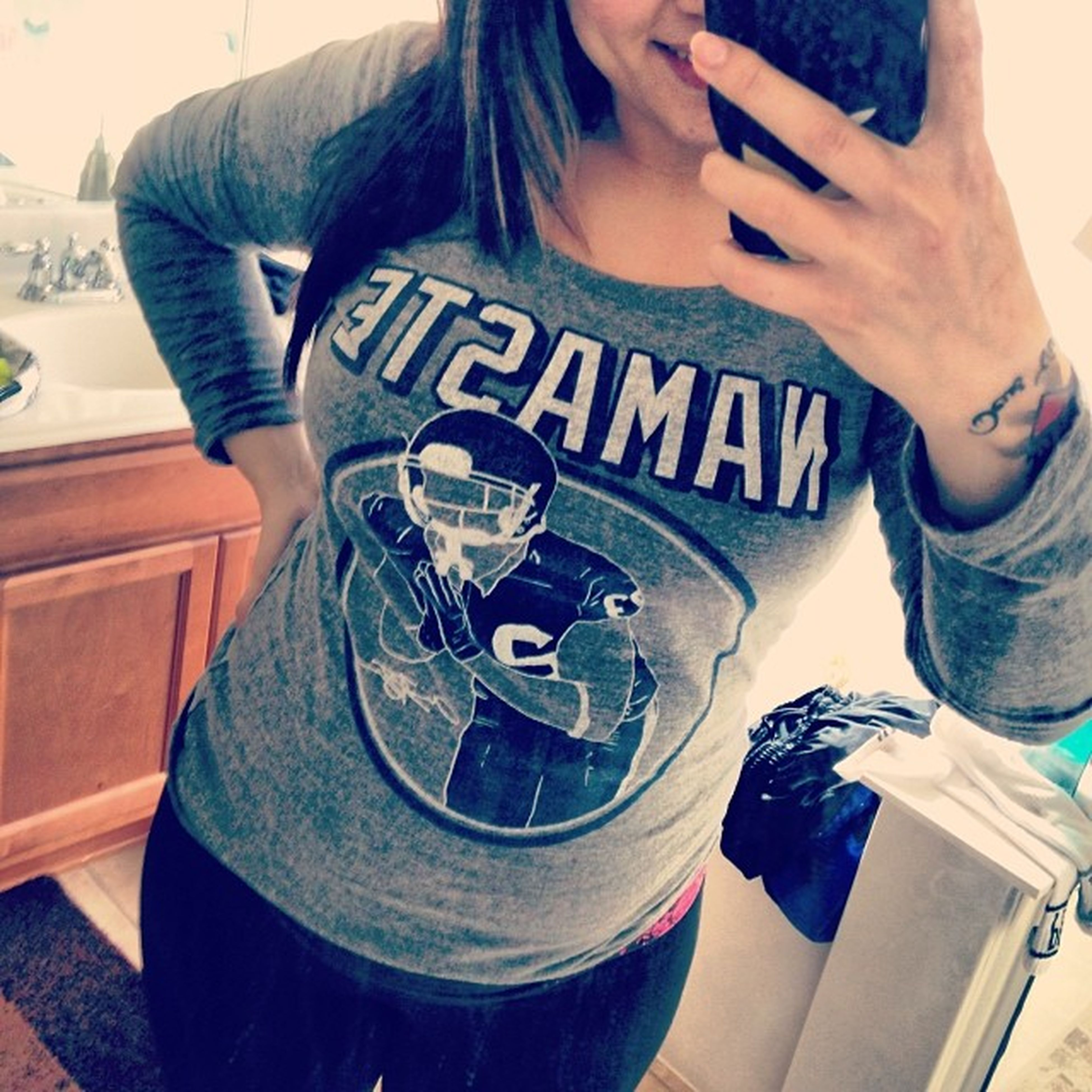 Has become my favorite pregnancy shirt for obvious reasons Namaste Arianfoster Thatlightwithinher Giggigty babymamadrama