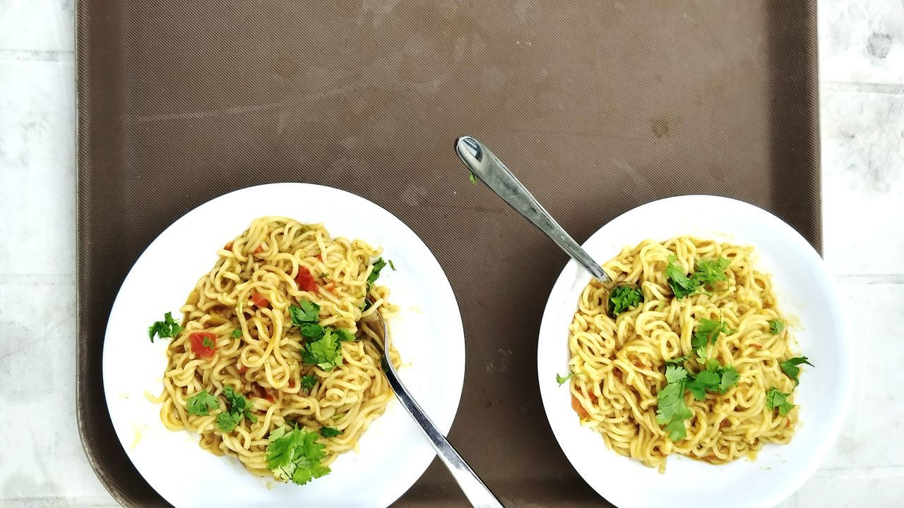 Plate Food Ready-to-eat Food And Drink Freshness Table Serving Size Healthy Eating Indulgence Gourmet No People Garnish Italian Food Meal High Angle View Indoors  Healthy Lifestyle Homemade Temptation Maggi Noodles
