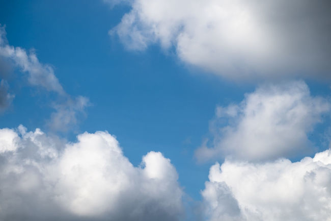 Abstract Backgrounds Beauty Beauty In Nature Blue Cloud - Sky Cloudscape Cumulus Cloud Day Dramatic Sky Environment Fluffy Heaven Horizontal Idyllic Low Angle View Nature No People Outdoors Scenics Sky Sunlight Tranquility Weather White Color