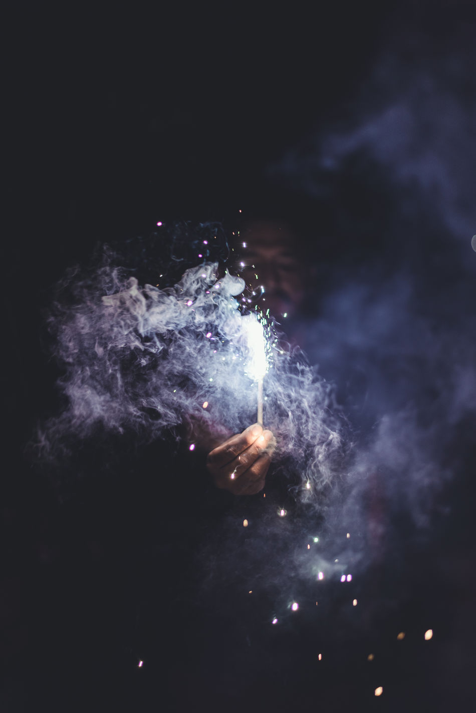 Beautiful stock photos of feuerwerk, real people, night, one person, leisure activity