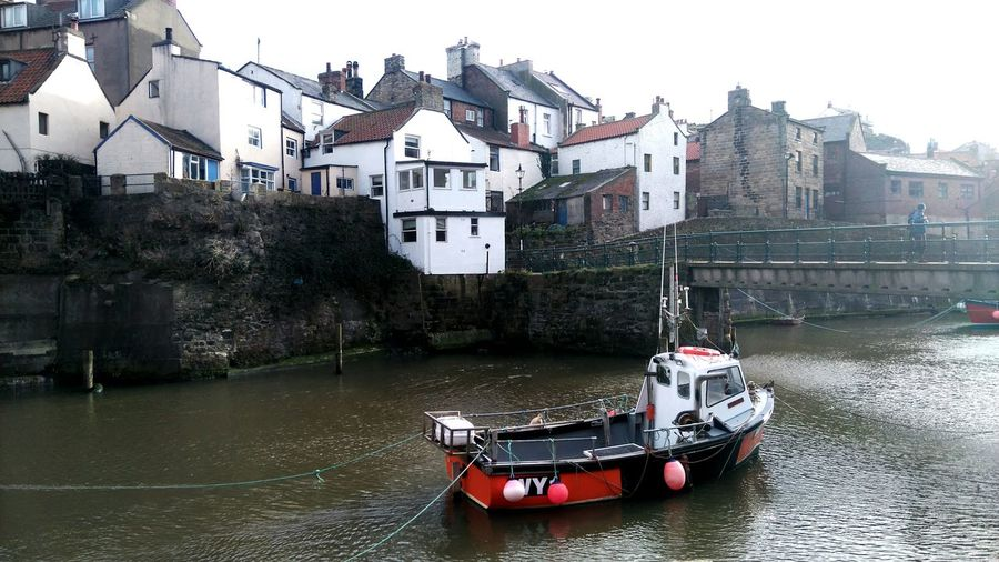 Water Waterfront Nautical Vessel Boat Village No People Outdoors Day Sky Sea House Staithes, England