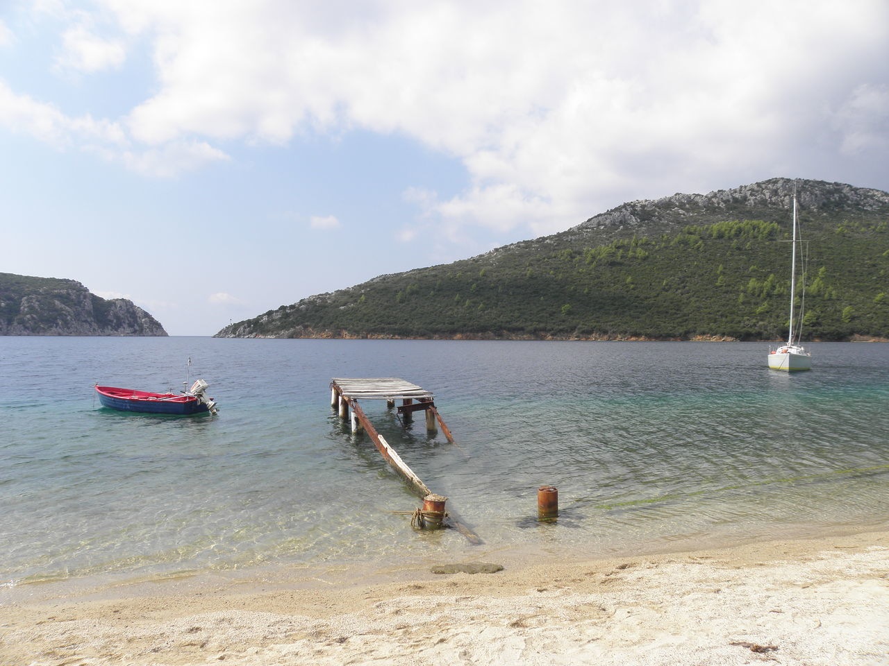 Bay Beach Best Beaches Boat Calm Sea Sithonia Day Greece Harbor Harbour Heart Mode Of Transport Moored Mountain Naturalistic Nature Nautical Vessel No People Outdoors Paradise Pier Sailing Seascape Sky Water