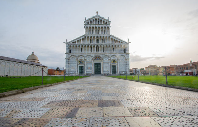 PISA, ITALY- OCTOBER 22 ,2016 : exteriors and architectural details of Pisa cathedral October 22 2016 in Pisa Italy Architecture Building Exterior Built Structure Business Finance And Industry City Day Dome Government Government Building History Landscape No People Outdoors Pisa Pisa Italy Politics Politics And Government Sky Travel Destinations War