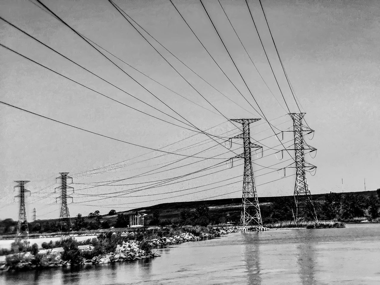 Wires over water. Lgarciaphoto IPhone Photography IPhone IPhoneography IPhone 7 Plus Iphonephotography Iphoneonly Shot On IPhone New Jersey New Jersey Photography Meadowlands Nature Cable Power Line  Electricity  Power Supply Sky Electricity Pylon Fuel And Power Generation Connection Outdoors Nature Day Built Structure Architecture Electricity Tower Water No People Building Exterior Telephone Line Snow