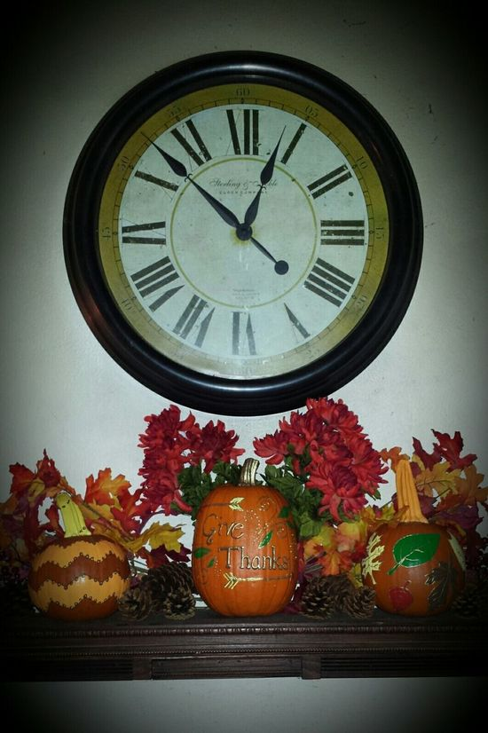 Thanksgiving Happy Thanksgiving Leaves Fall Autumn Decor Decorations Painted Pumkins Pinecone Cranberries Orange Red Brown Clock Time Time To Reflect