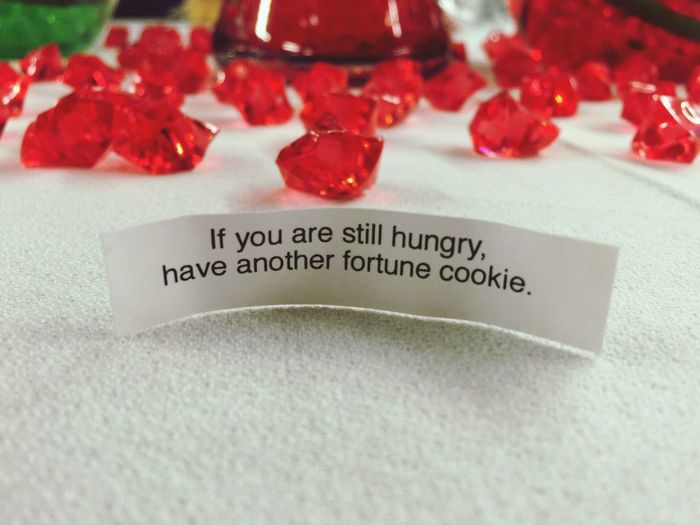 Still Hungry? Fortune Cookie Fortune Message Table Decoration Table Setting Red Gems Red Jewels Funny