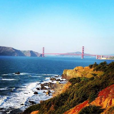 Golden Gate Bridge San Francisco Architecture Beauty In Nature Bridge - Man Made Structure Built Structure Clear Sky Day Landmark Mountain Nature No People Outdoors San Francisco Bay Scenics Sea Sky Tranquility Transportation Travel Destinations Water