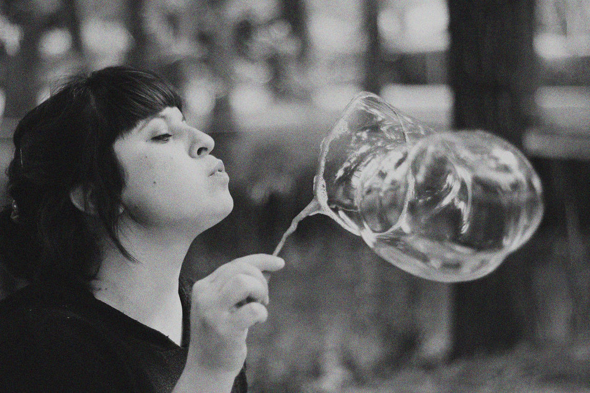Black And White Blackandwhite Photography Bubble Bubble Wand Childhood Girls Lifestyles One Person Photography Real People Young Adult