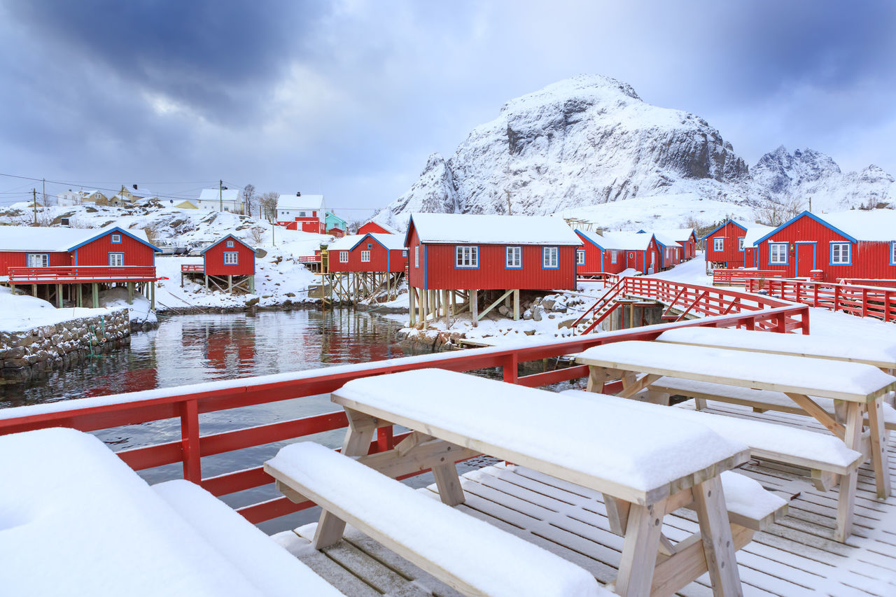 Architecture Building Exterior Chalet Cold Temperature Day House Lake Mountain No People Outdoors Sky Snow Snowing Tourism Travel Travel Destinations Vacations Village Water Winter