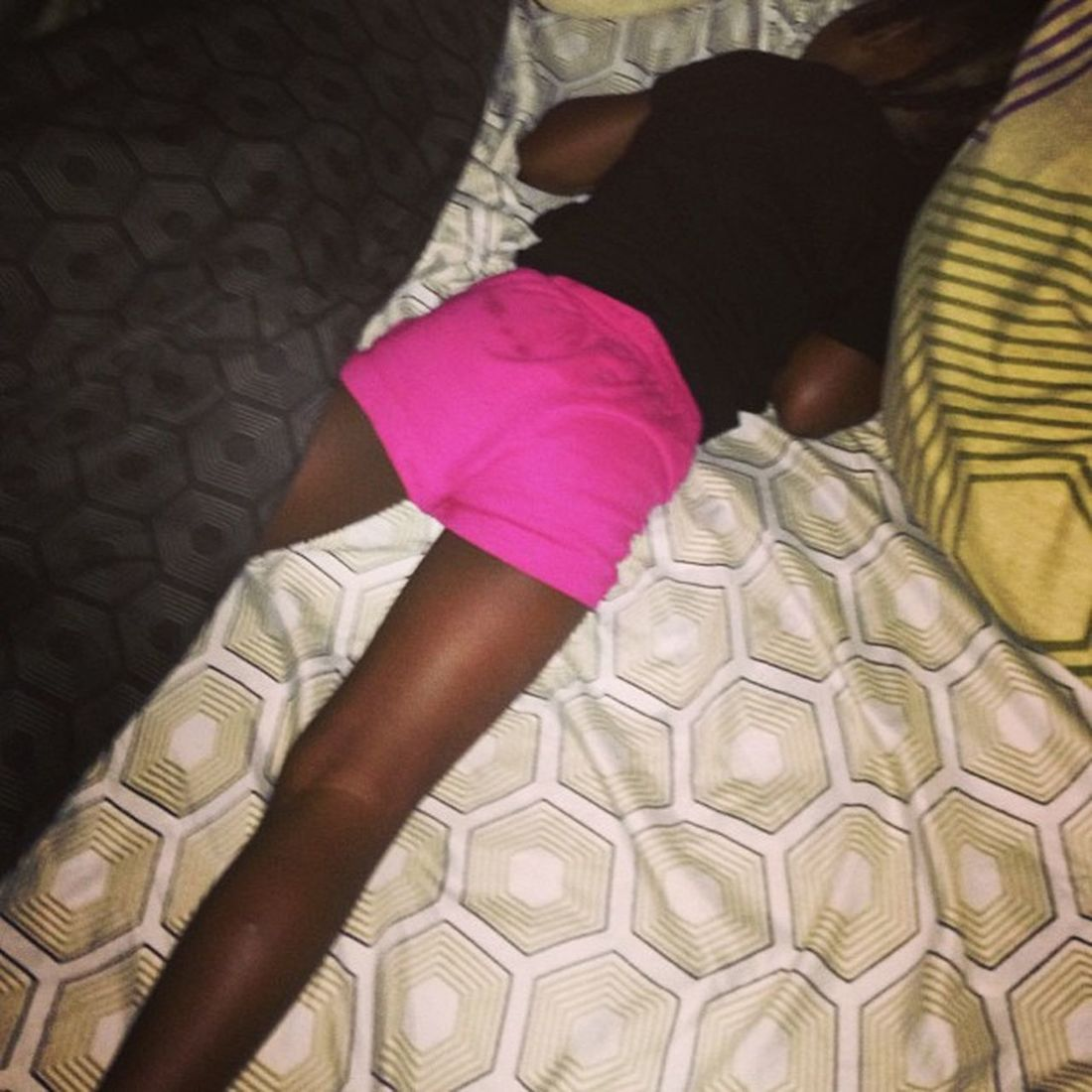 I put her in her bed she ends up in my bed kicking me all night with these long legs ! It's a king size Miniya try the other side and let me sleep please ! Signed Tiredmommy